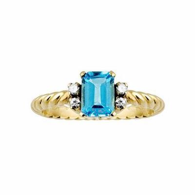 Blue Topaz & Diamond Single stone